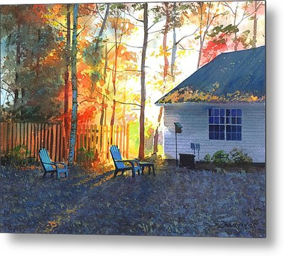 Metal Print featuring the painting Autumn Backyard by Sergey Zhiboedov