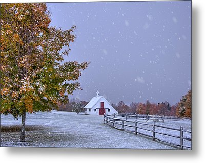 Autumn Barn In Snow - Vermont Metal Print by Joann Vitali