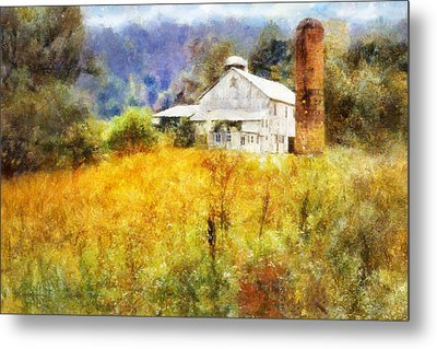 Autumn Barn In The Morning Metal Print by Francesa Miller
