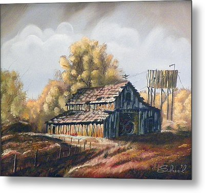 Metal Print featuring the painting Autumn Barnyard by Sherril Porter