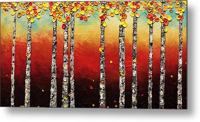 Metal Print featuring the painting Autumn Birch Trees by Carmen Guedez