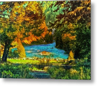 Autumn By A Montana Pond Metal Print