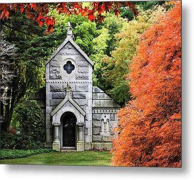 Autumn Chapel Metal Print by Betty Denise
