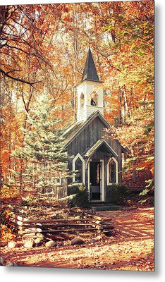 Autumn Chapel Metal Print by Joel Witmeyer