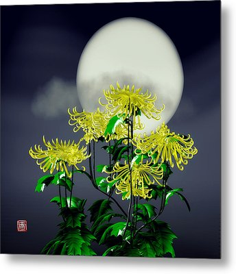 Autumn Chrysanthemums Metal Print by GuoJun Pan