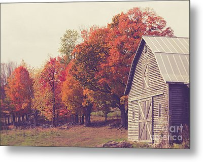Autumn Color On The Old Farm Metal Print by Edward Fielding