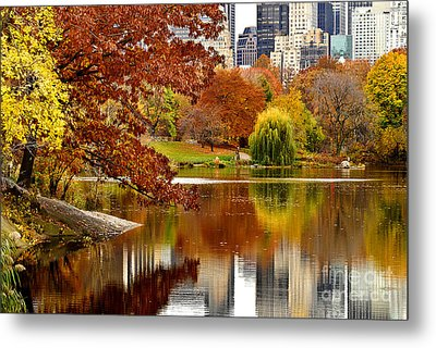Autumn Colors In Central Park New York City Metal Print