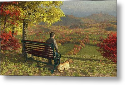Metal Print featuring the digital art Autumn Companions by Jayne Wilson