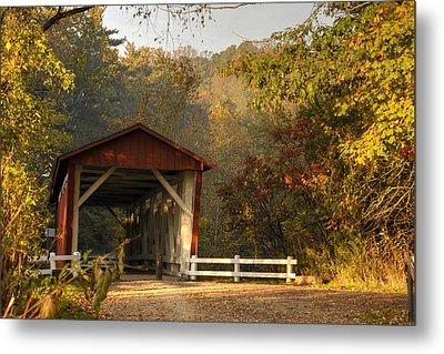 Autumn Covered Bridge Metal Print by Ann Bridges
