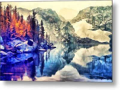 Autumn Day On The Lake. Metal Print