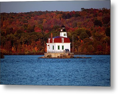 Autumn Evening At Esopus Lighthouse Metal Print by Jeff Severson