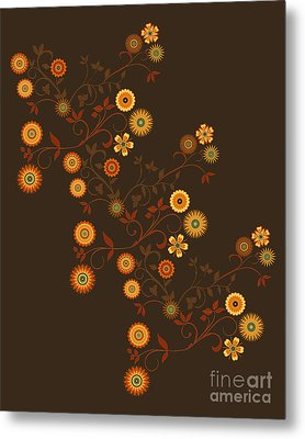 Metal Print featuring the digital art Autumn Flower Explosion by Methune Hively