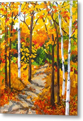 Autumn Forest Trail Metal Print