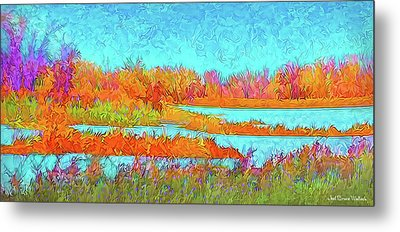 Metal Print featuring the digital art Autumn Grassy Meadow With Floating Lakes by Joel Bruce Wallach