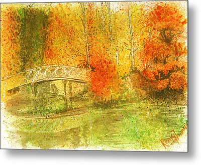 Autumn Landscape Painting  Metal Print by Remy Francis