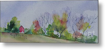 Metal Print featuring the painting Autumn In Rural Ohio by Mary Haley-Rocks
