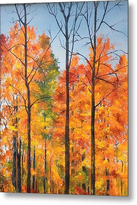 Metal Print featuring the painting Autumn In South Wales Ny by Ellen Canfield