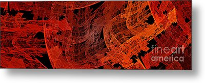 Metal Print featuring the digital art Autumn In Space Abstract Pano 1 by Andee Design