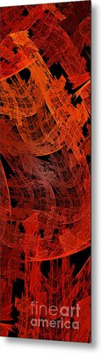 Metal Print featuring the digital art Autumn In Space Abstract Pano 2 by Andee Design