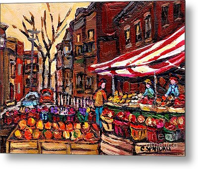 Autumn In The City Outdoor Market Small Format Paintings For Sale Best Montreal Art Carole Spandau Metal Print by Carole Spandau