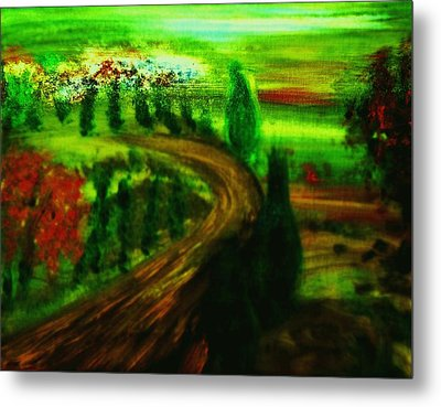 Metal Print featuring the painting Autumn In Tuscany by Evelina Popilian