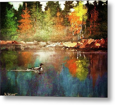 Autumn Lake Reflections Metal Print
