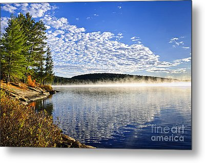 Autumn Lake Shore With Fog Metal Print by Elena Elisseeva