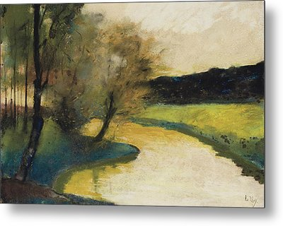 Autumn Landscape Of Brook In The Evening Light Metal Print