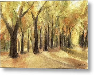 Autumn Leaves Central Park Metal Print by Beverly Brown