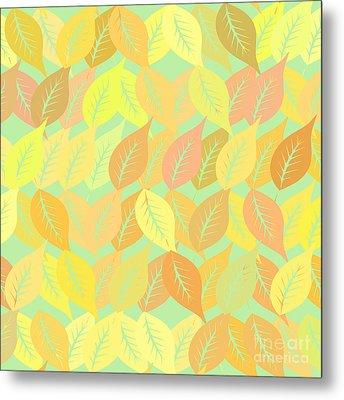 Autumn Leaves Pattern Metal Print by Gaspar Avila