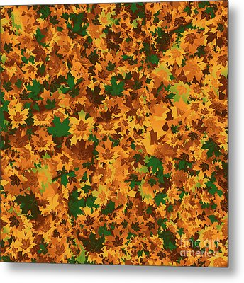 Metal Print featuring the digital art Autumn Leaves Pattern by Methune Hively