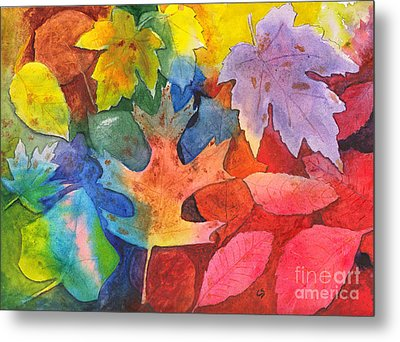 Autumn Leaves Recycled Metal Print