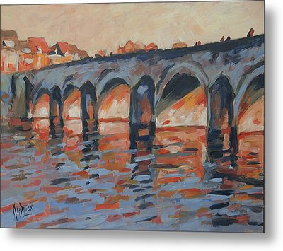 Autumn Light Through The Saint Servaas Bridge Maastricht Metal Print