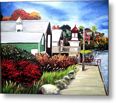Metal Print featuring the painting Autumn Lighthouse Miramichi New Brunswick Canada by Patricia L Davidson