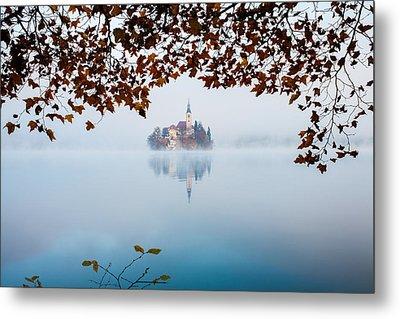 Autumn Mist Over Lake Bled Metal Print