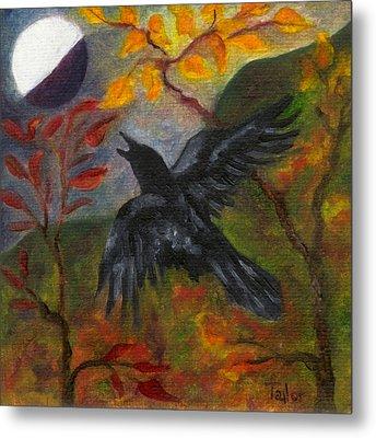 Autumn Moon Raven Metal Print