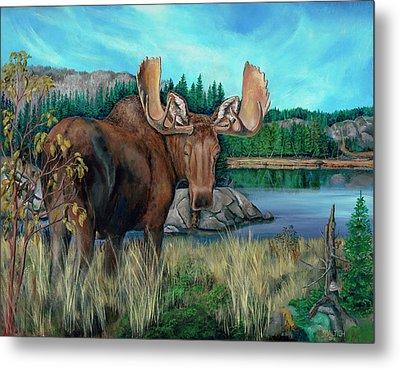 Autumn Moose Metal Print
