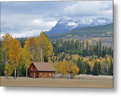 Autumn Mountain Cabin In Glacier Park Metal Print by Bruce Gourley