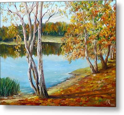Metal Print featuring the painting Autumn by Nina Mitkova
