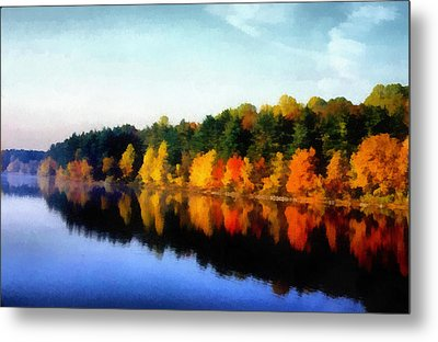 Autumn On The Lake Metal Print by Joseph Frank Baraba