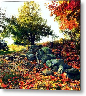 Metal Print featuring the painting Autumn Orchard by Janine Riley