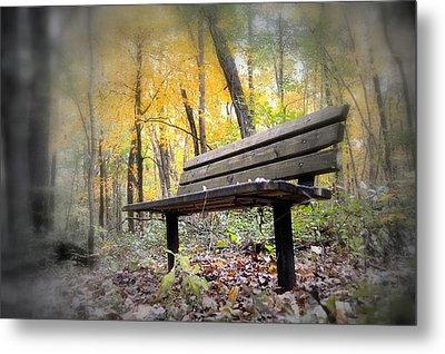Autumn Park Bench Metal Print by Bonfire Photography