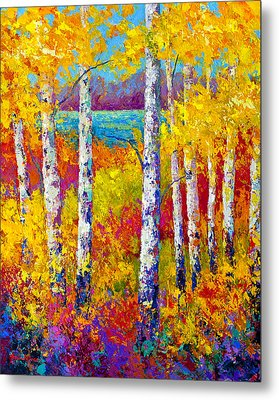 Autumn Patchwork Metal Print by Marion Rose