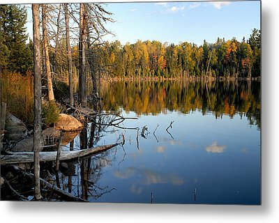 Autumn Reflections On Little Bass Lake Metal Print