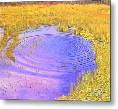 Metal Print featuring the painting Autumn Ripples by Cindy Lee Longhini