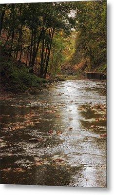 Autumn River Glow Metal Print by Jessica Jenney