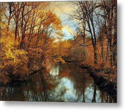 Autumn River Lights Metal Print by Jessica Jenney