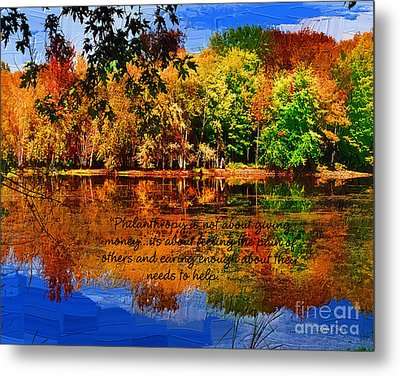 Metal Print featuring the painting Autumn Serenity Philanthropy Painted by Diane E Berry