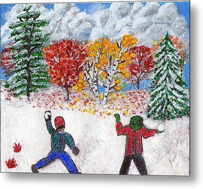 Autumn Snow Metal Print by Lisa Hinshaw