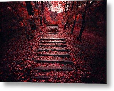 Autumn Stairs Metal Print